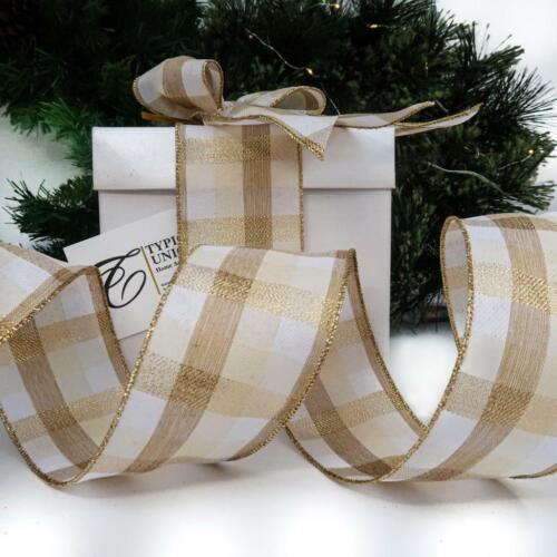 Alambre de cinta de calidad Nuevo Navidad Crema Y Borde De Oro Craft Envoltura de regalo /'cleo/'
