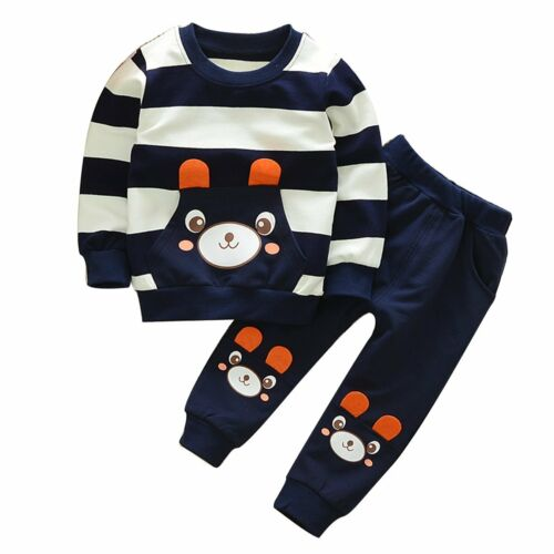 Kid Toddler Baby Striped Bear Outfits Tops Clothes Long Tracksuit Pants 2Pcs Set