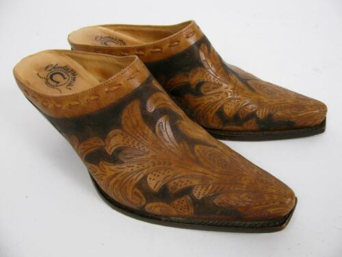 CHARLIE 1 HORSE LUCCHESE SLIDES SHOE BROWN LEATHER