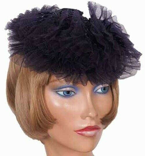 1930s Cocktail Hat by Kathleen New York, Dark Blue-Black Lacquered Straw
