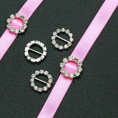 50pcs 15mm Round Rhinestone Buckle Invitation Ribbon Slider for Wedding Supplies