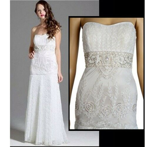 SUE WONG BEADED STRAPLESS DRESS PLEATED GOWN WEDDING FORMAL sz 2