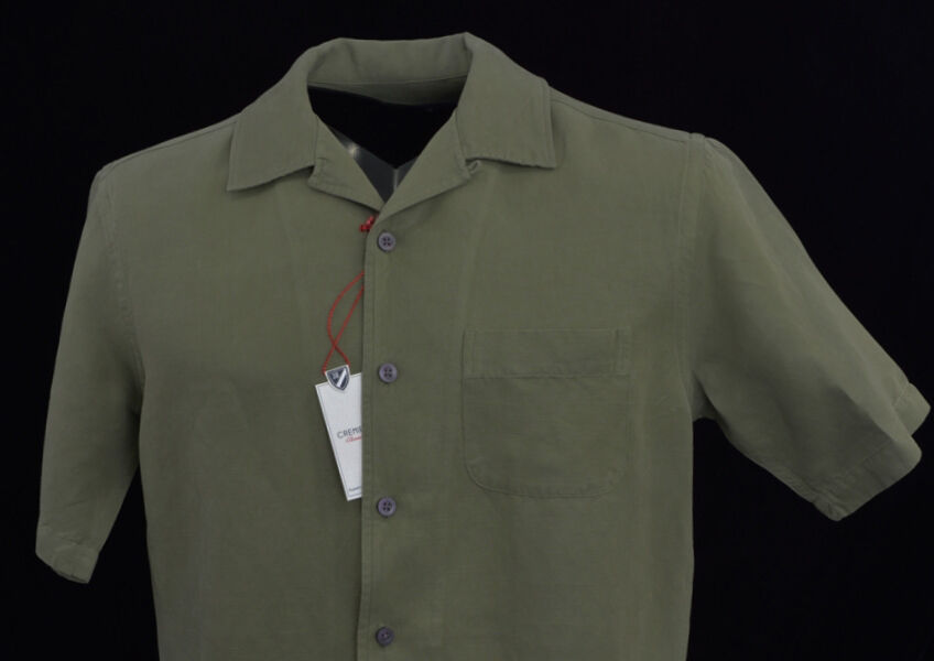 Cremieux Olive Green S S Silk Linen Shirt Small S New Nwt