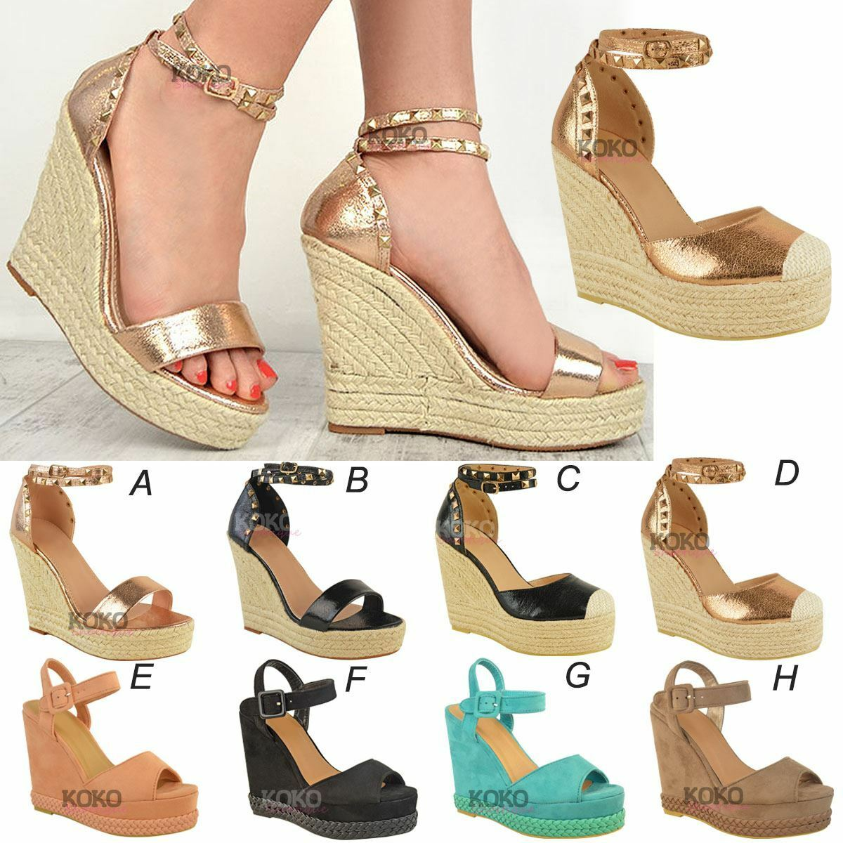 Womens Ladies Studded Platform Wedge Sandal Rock Espadrille Platform Studded Summer Party Shoes 82b801