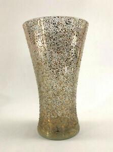 Mid-Century-Modern-West-Virginia-Glass-tall-gold-amp-white-spatter-vase-c-1960s