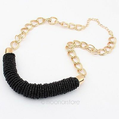 New Women Vintage Jewelry Beads Necklace Chain Statement Bib Chunky Collar Party