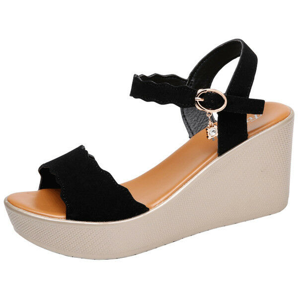 Sandali eleganti tacco zeppa comodi 8 cm noir comodi  simil pelle eleganti 9800