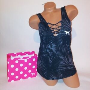 Victoria-Secret-PINK-Tank-Top-Black-Gray-Lace-Up-Low-Open-Back-Sleeveless