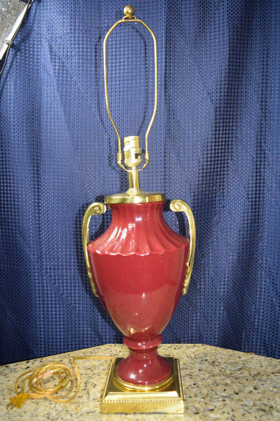 Grecian Style Urn Table Lamp Burgundy and Gold 32  H