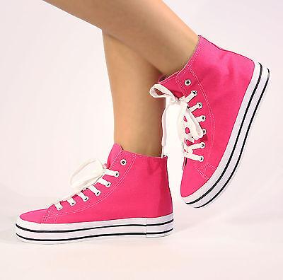 Para mujeres Damas niñas Plana Entrenador Con Cordones Plimsolls Bombas Zapatos De Lona Talla 3-8