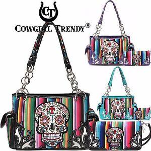 Image Is Loading Cow Trendy Candy Rainbow Sugar Skull Purse Handbag