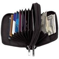 Black Solid Leather Accordion Wallet Zip Around Id Credit Card Case Holder