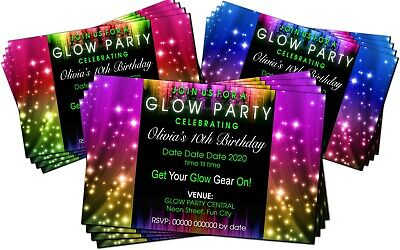 Birthday Party Invitations Disco Glow