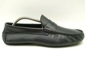 Johnston-Murphy-Black-Leather-Slip-On-Penny-Loafers-Driving-Shoes-Men-039-s-10-M