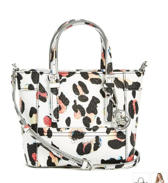 Nwt Guess Delaney Crossbody Mini Tote Purse Handbag Leopard Print White Pink