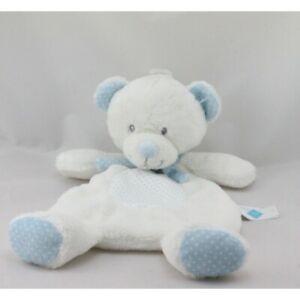 Doudou-plat-ours-blanc-bleu-pois-TEX-BABY-Ours-Plat-Semi-plat