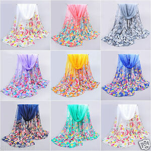 New-Fashion-Women-039-s-Flower-Chiffon-Long-Soft-Thin-Beach-Stole-Wrap-Scarf-Scarves