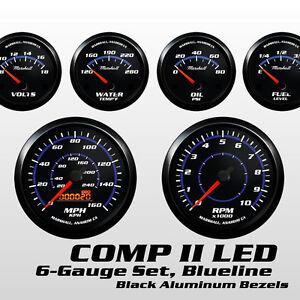 C2 Blueline 6 Gauge Set, Black Bezels, 73-10 Ohm Fuel Lev, Cobalt Blue Accents