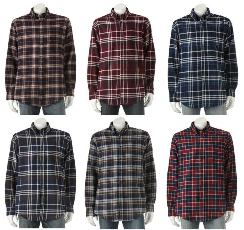 Croft /& Barrow Mens Big Sizes Signature Flannel Button-Down Plaid Shirt NEW $42