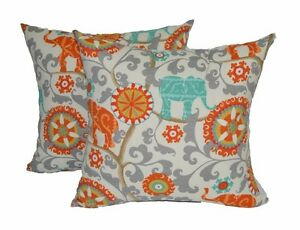 Set Of 2 24 Jumbo Bohemian Elephant Throw Pillows W Zipper