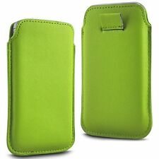For Celkon Millennia Xplore - Green PU Leather Pull Tab Case Cover Pouch