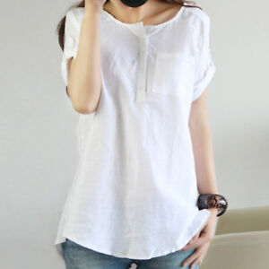 Women-Ladies-Loose-Solid-Short-Sleeve-Cotton-Blend-Linen-Casual-Blouses-Tops-Set