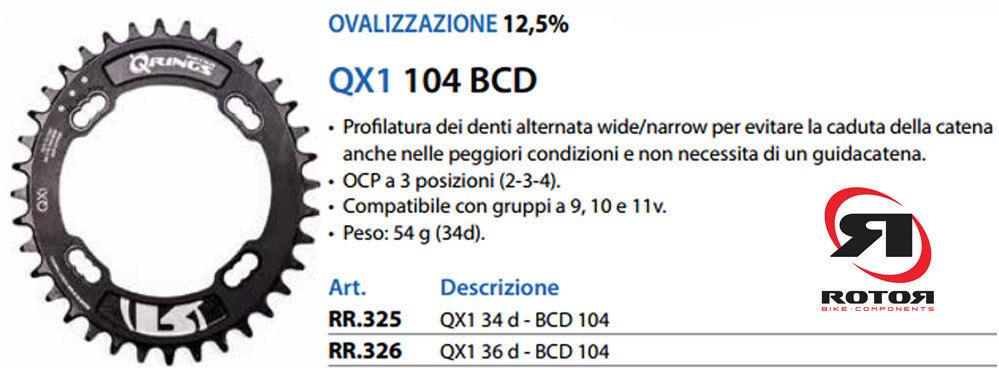 Rotor MonocGoldna MTB Q-Anillo QX1 Bcd 104x4 Aero