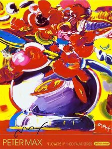 PETER-MAX-POSTER-FLOWERS-2-18-x-24-FACSIMILE-SIGNED-VERY-COLORFULct-29