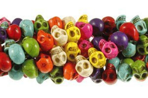 """14x10mm Skull Beads Chalk Turquoise Dyed//Stabilized Mix  Beads 15/"""""""