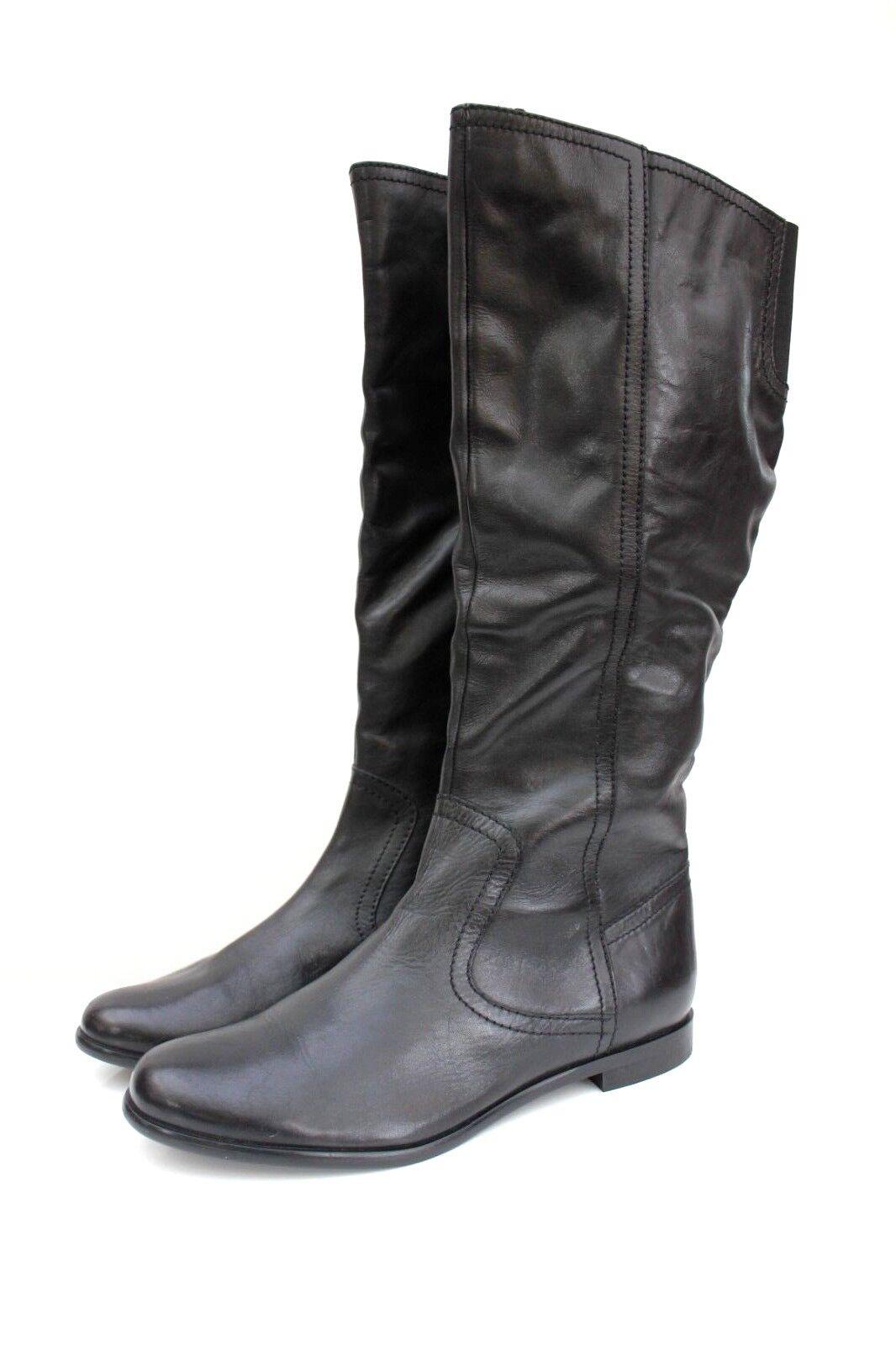 ASOS pone de rodillas, negra, cuero pasante plana elástico botas 7 40