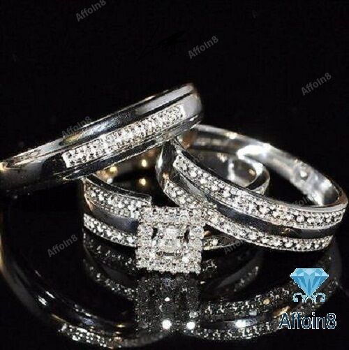 White gold Over Round AAA Diamond Trio Set His Her Engagement Bridal Ring Set