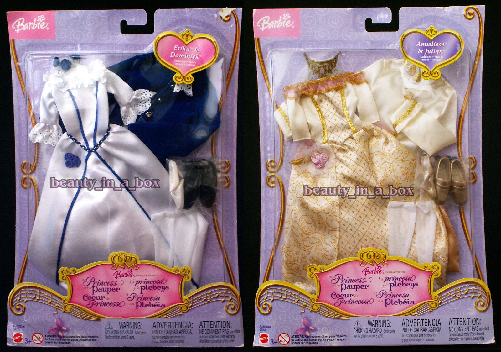 Princesa y el Pauper conjuntos de Moda para Muñeca Barbie Erika Kritsaralam Lote 2