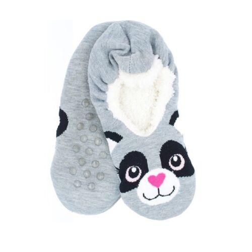 Cute Kids Children Animal Slipper Fluffy Soft Warm Socks Green Frog Grey Raccon