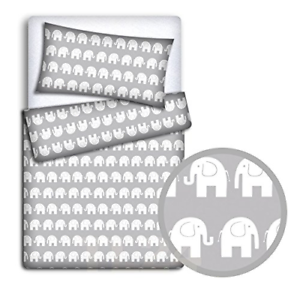 Baby Bedding Set Pillowcase Duvet Cover 2PC to FIT Junior Bed Elephants Grey