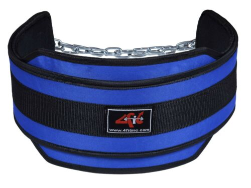 4Fit NEOPRENE DIPPING BELT// WEIGHT LIFTING// GYM DIP BELT WITH METAL CHAIN B-B