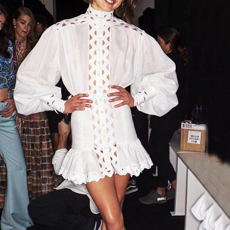 Womens White Runway Hollow Out Lantern Sleeve Ruffle Mini White Shirt Dress Hot