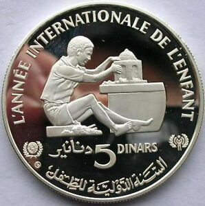 Tunisia-1982-Year-of-Child-5-Dinars-Silver-Coin-Proof