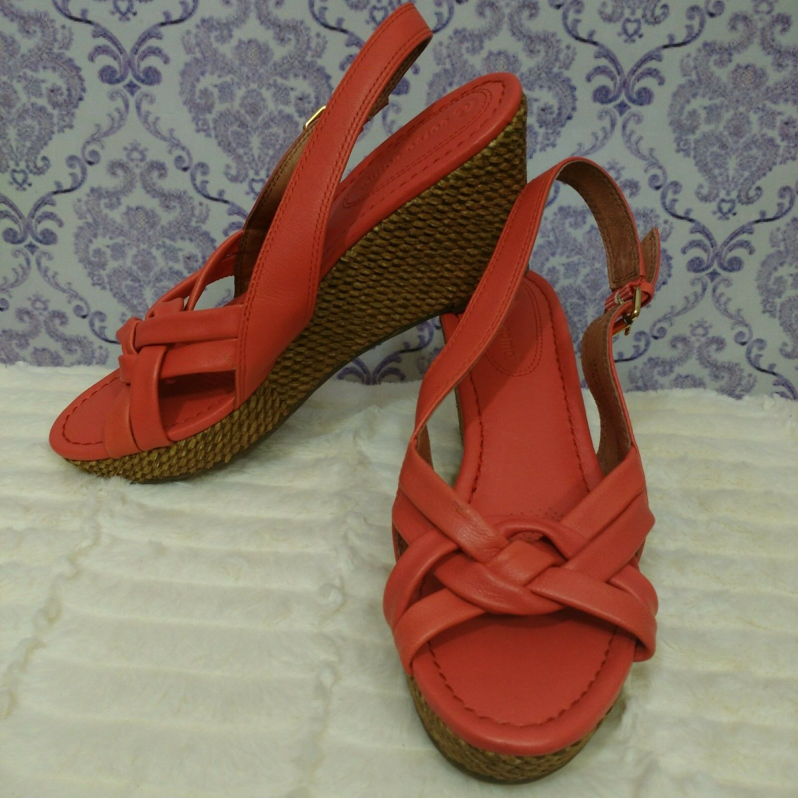 Corso Como Womens Wedge M Slingback Sandals Size 8 M Wedge Coral Orange Leather Heels 7177c7