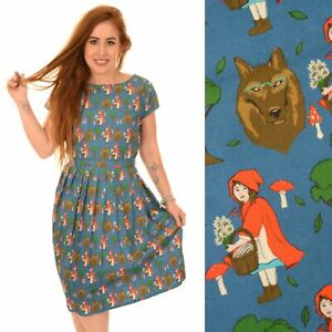 Riding 18 Red Quirky Fly 12 10 Run 14 Hood Fairytale Print And 16 20 8 Dress F60Fxtnw