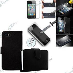 Etui-Coque-Film-Verre-Trempe-Portefeuille-Cuir-NOIR-pour-Apple-iPhone-5-5S-5se
