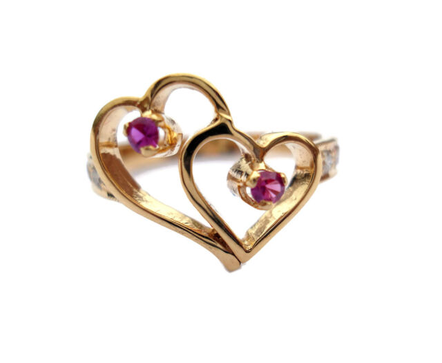0.20ct Diamond Ruby 14k Gold Women's Double Heart Wedding Ring