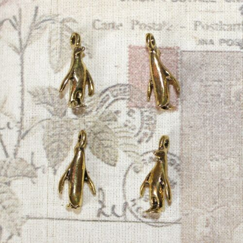 Cute small penguin charms gold tone x4