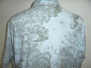 vintage Hemd crazy pattern ostsee baltic sea pattern Baumwolle 80s shirt L/XL
