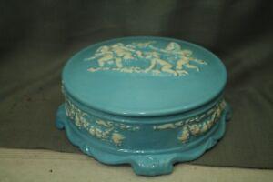 vtg-old-blue-ceramic-covered-bowl-dish-jewelry-dresser-box-cherubs-baby-angels