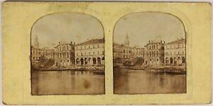Italia-Venezia-c1860-Foto-Stereo-Diorama-Vintage-Albumina