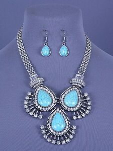Turquoise-Blue-Stones-Crystal-Drop-Statement-Necklace-Set-Fashion-Jewelry