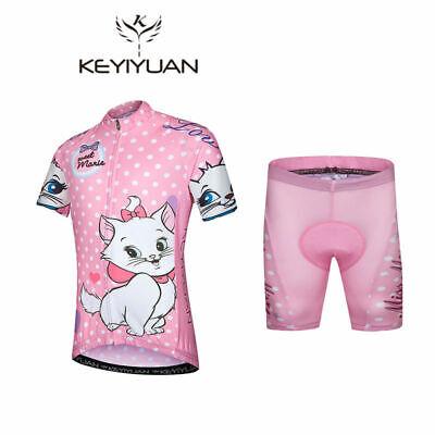 Kinder Fahrradbekleidung Mädchen Kurzarm Radtrikot und Shorts Radhose Set Rosa