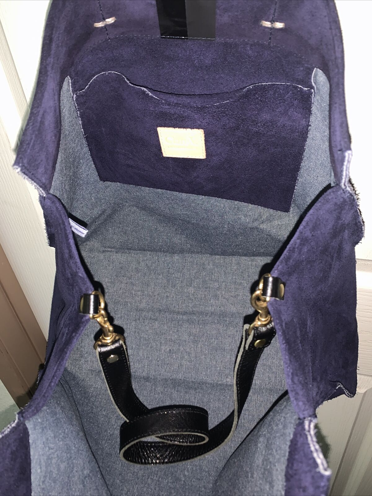 Claire V Simple Blue Suede Tote - image 6