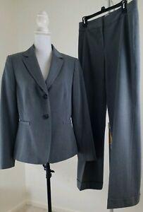 MIX-by-Tahari-ASL-Women-039-s-Size-8-10-Gray-Pants-Suit-Lined-Blazer-Office-Wear