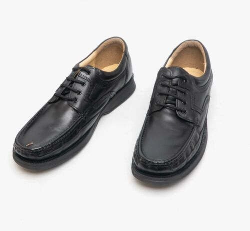 Roamers DYLAN Mens Casual Smart Breathable Leather Lace Up Apron Shoes Black